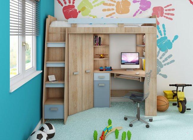 Rohová poschodová posteľ Antresola (L) Sonoma + modrá (s roštom)