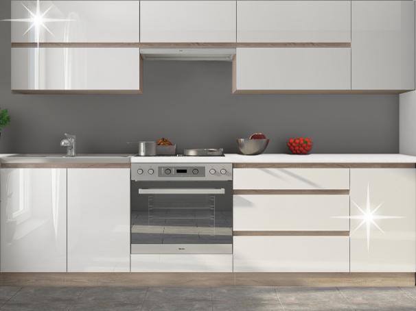 Kuchyňa Line 260 cm dub sonoma + lesk extra vysoký biely