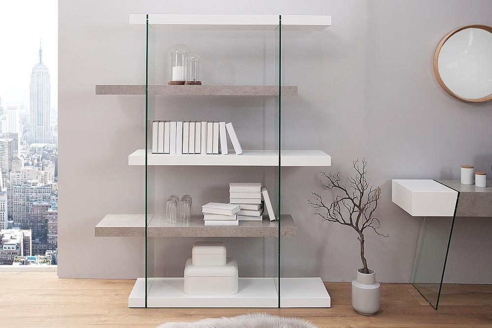 Regál ONOX 180x140cm - biela, sivá, priehľadná