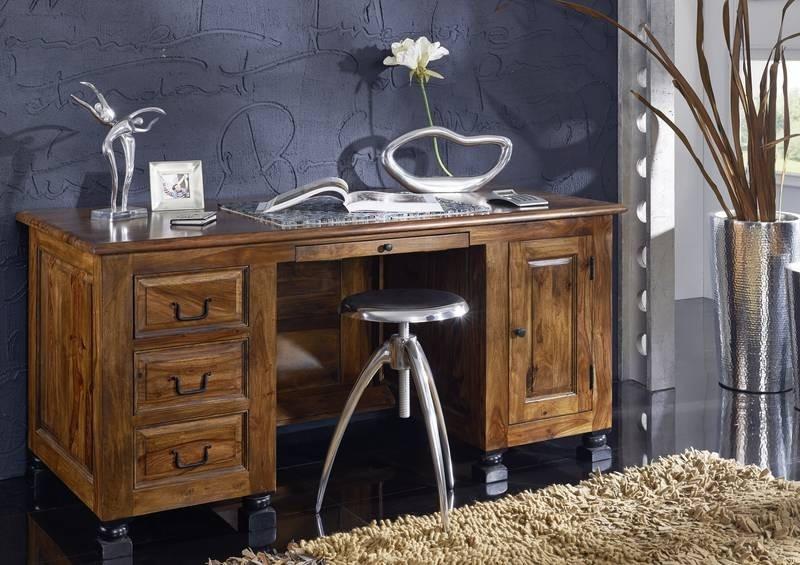 KOLONIAL Písací stôl so zásuvkami 150x70 cm, palisander