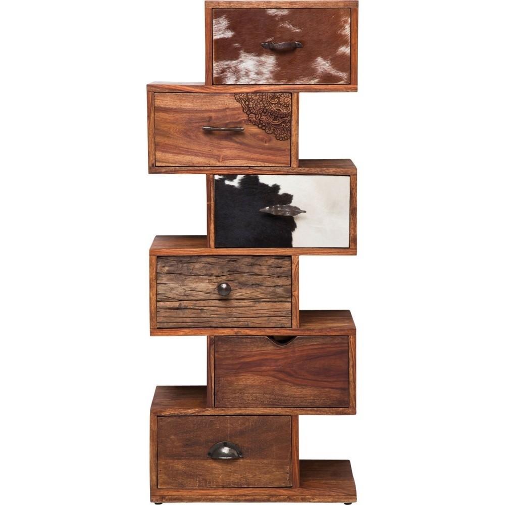Komoda zpalisandrového dreva skoženými detailmi Kare Design Rodeo Zick Zack, výška 120cm