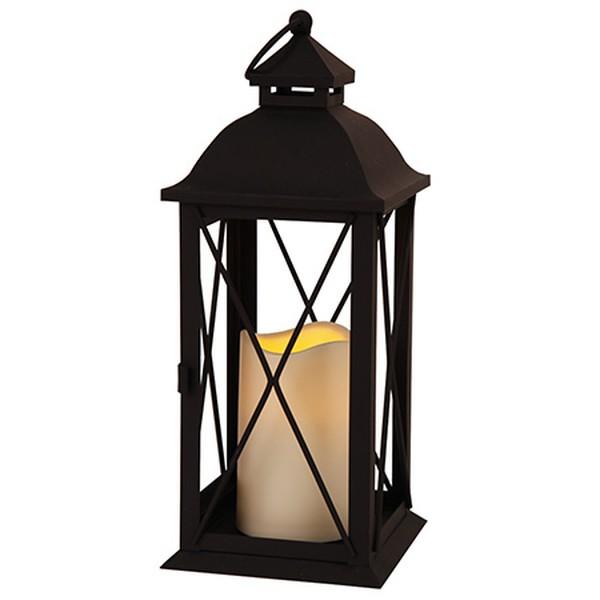 Čierny LED lampáš Best Season Candle, 32cm