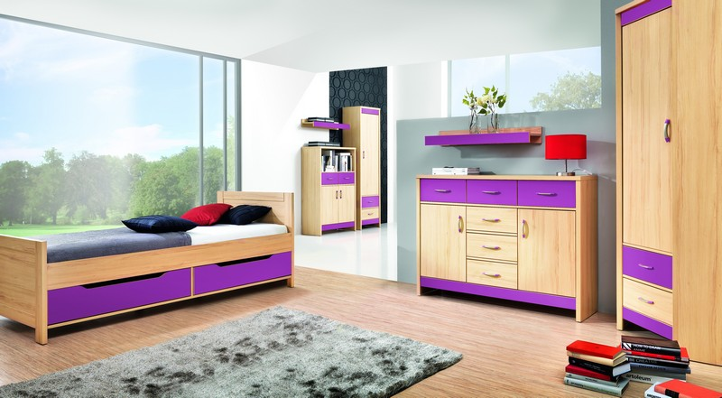 BOG-FRAN CODI 1 detská izba - višňa cornwall / rainbow fialová